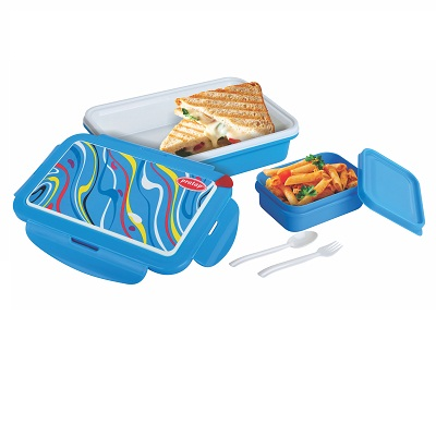 super lunch open tiffin box image blue plastic